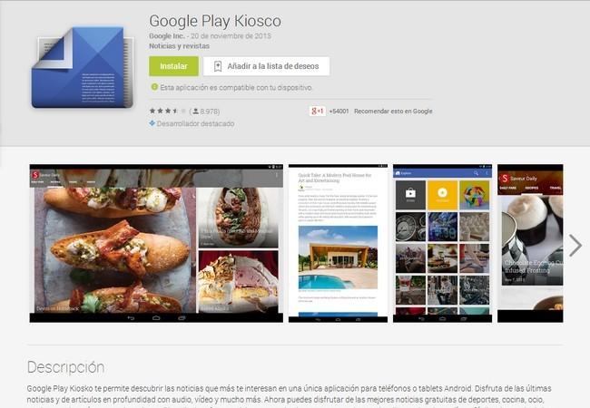 Google lanza «Google Play Kiosco»
