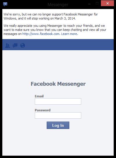 Fecebook Messenger dejaría Windows el 3 de Marzo