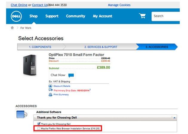 Dell UK cobra por instalar Firefox
